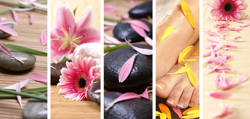 A spa massage collage of flowers, petals and lava stones